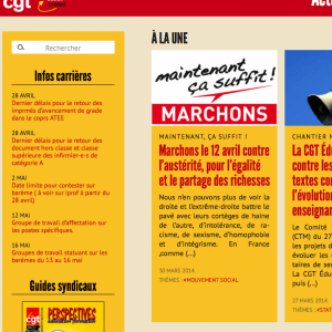 Website for the Créteil local branch of the CGT Éduc'action